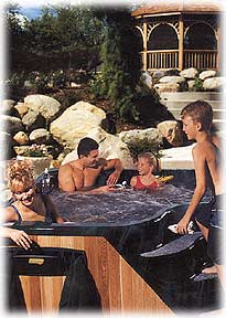 family enjoying spa